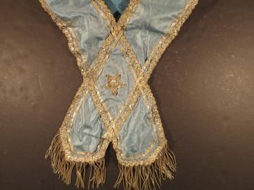Detail, Masonic sash belonging to David or William H. Workman, mid-1800s.