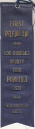 First place ribbon for crocheted pillow cases, 1929. From the Homestead Museum collection.