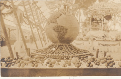 Photo post card, fruit exhibit, ca. 1910s. From the Homestead Museum collection.