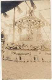 Photo postcard, California harvest display, ca. 1910s. From the Homestead Museum collection.