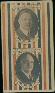 Sewing needle packet, Herbert Hoover and Charles Curtis, 1928. From the Homestead Museum collection.