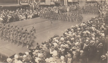 Parade for returning WWI soldiers on Broadway in Los Angeles, CA, 1919.