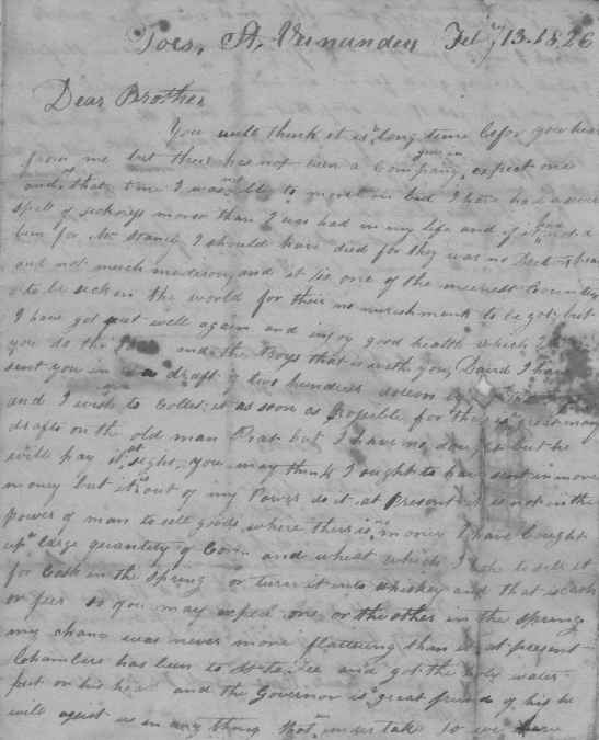 A page from a February 13, 1826 letter from William Workman, written from Taos, New Mexico, to David Workman, living in Franklin, Missouri.  Gift of the Krebs Family.
