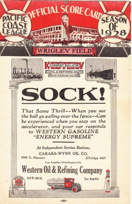 Corporate sponsorship is nothing new as seen in this PCL scorecard from 1928.