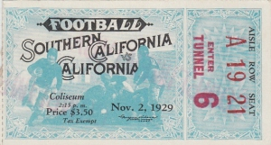 USC-Cal football ticket, 1929.