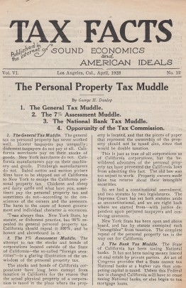 """Page one of """"Tax Facts,"""" April 1928."""