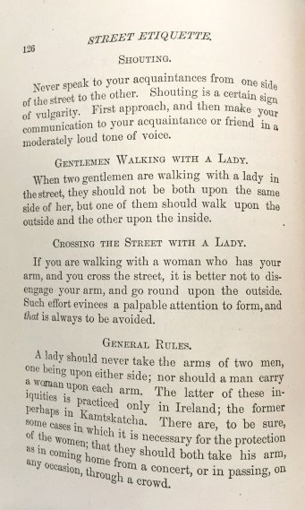 "Various tips on ""street etiquette."" ""Decorum,"" 1882. From the Homestead Museum collection."