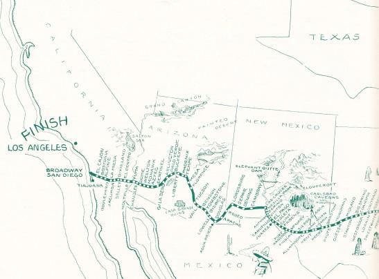1929 NY-LA Footrace Map Detail