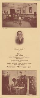 """KHJ Christmas Card-Los Angeles Times December, 1923 – This Christmas card from KHJ shows recipients their studio and transmission equipment along with a special message from the station and the LA Times. """"Uncle John"""" refers to station manager and chief announcer, John Daggett."""