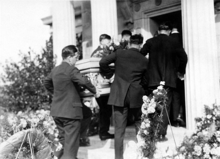 John H Temple Funeral Casket Carried Into Mausoleum 2002.89.48.1