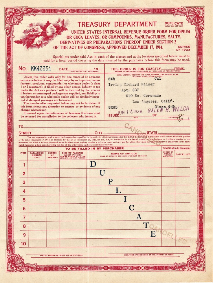 Harrison Act drug order form 1928