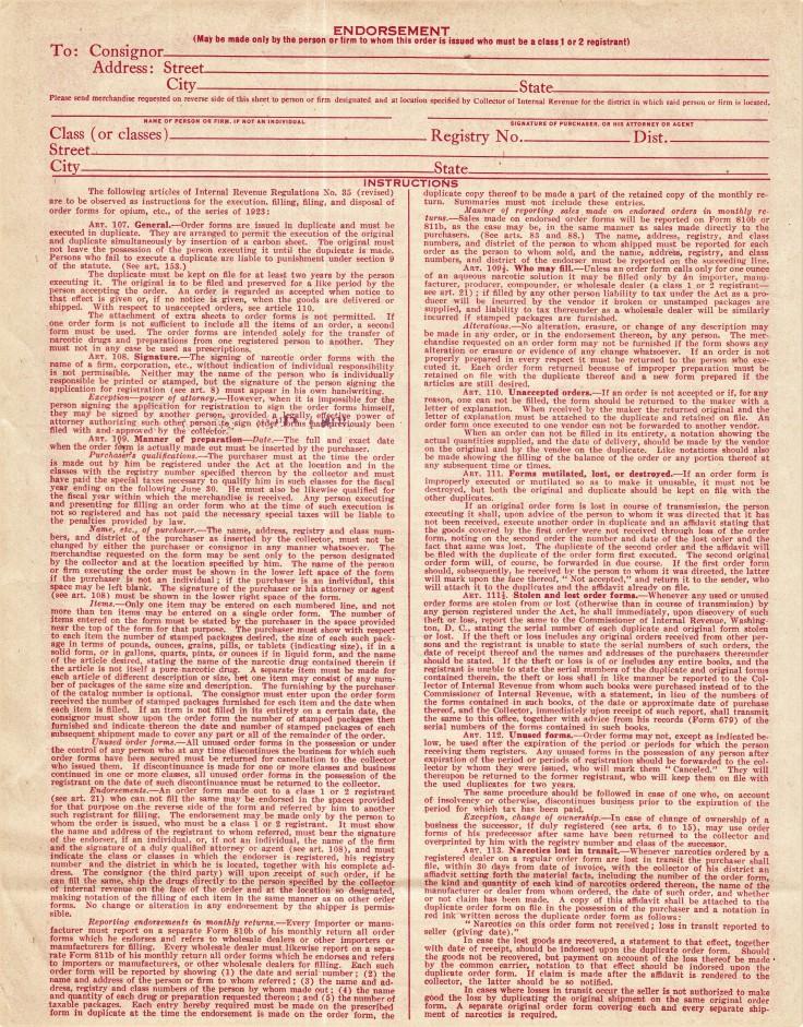 Harrison Act drug order form reverse 1928