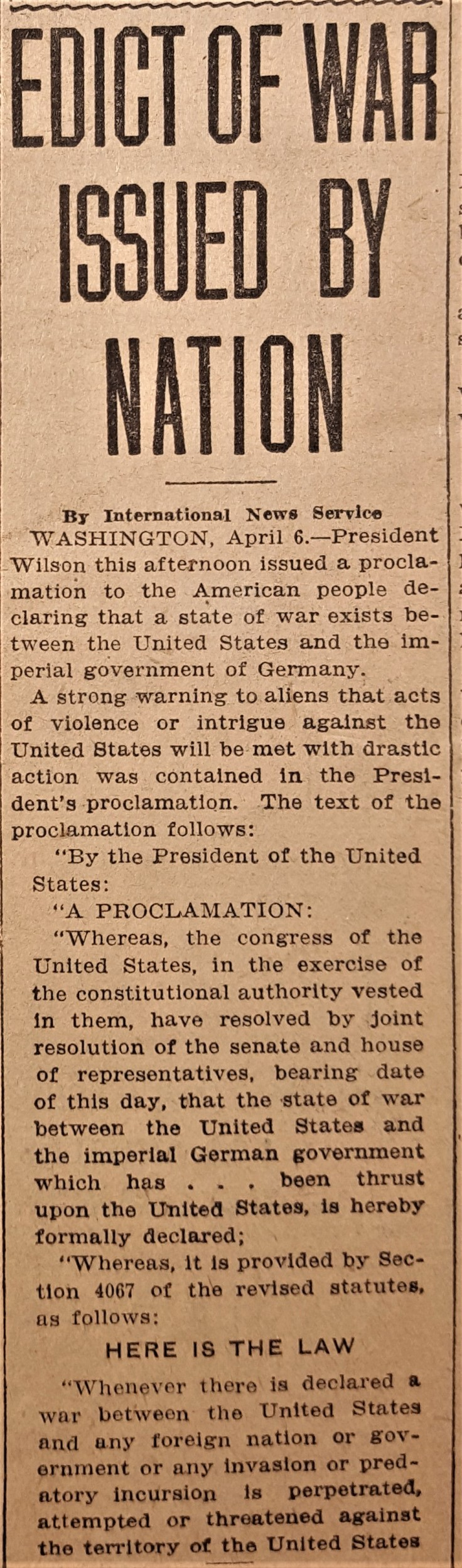 Herald War Proclamation 6Apr17