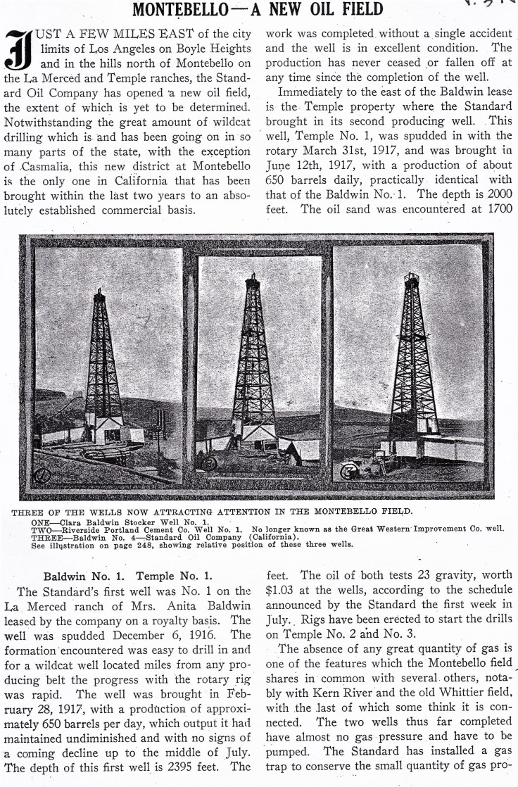 Montebello oil field Mining and Oil Bulletin Nov 1917