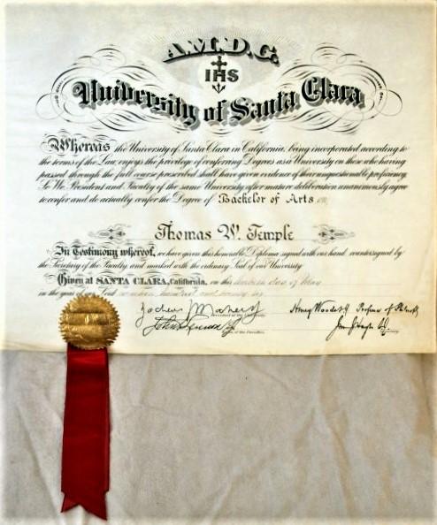 Thomas Santa Clara diploma 1926