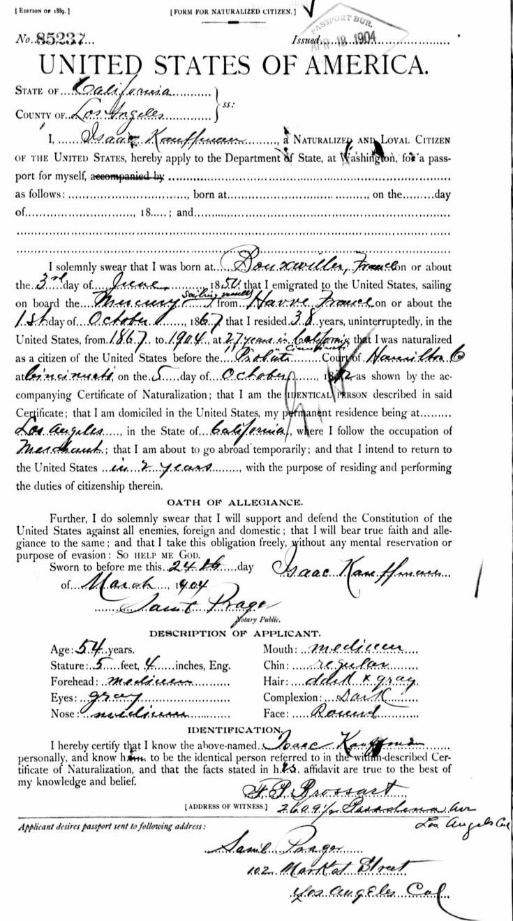 Isaac passport app 1904