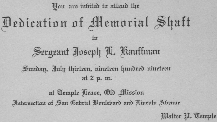Kauffman memorial invite