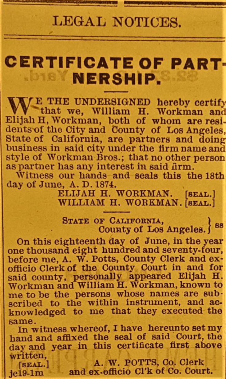 Workman brothers Cert of Partner