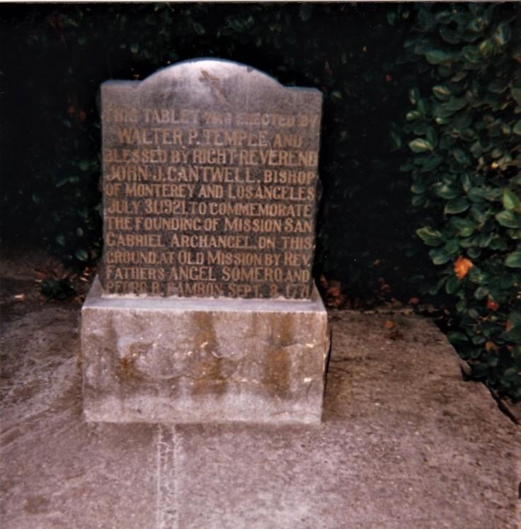 Original Mission San Gabriel monument
