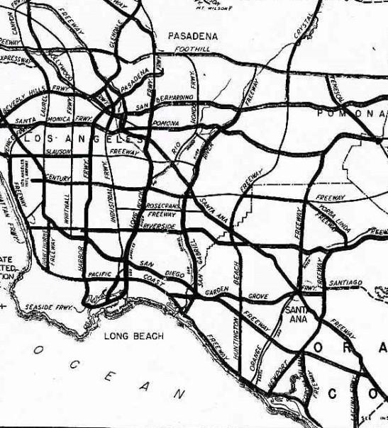 Metro Trans Eng Bd freeway master plan 1956