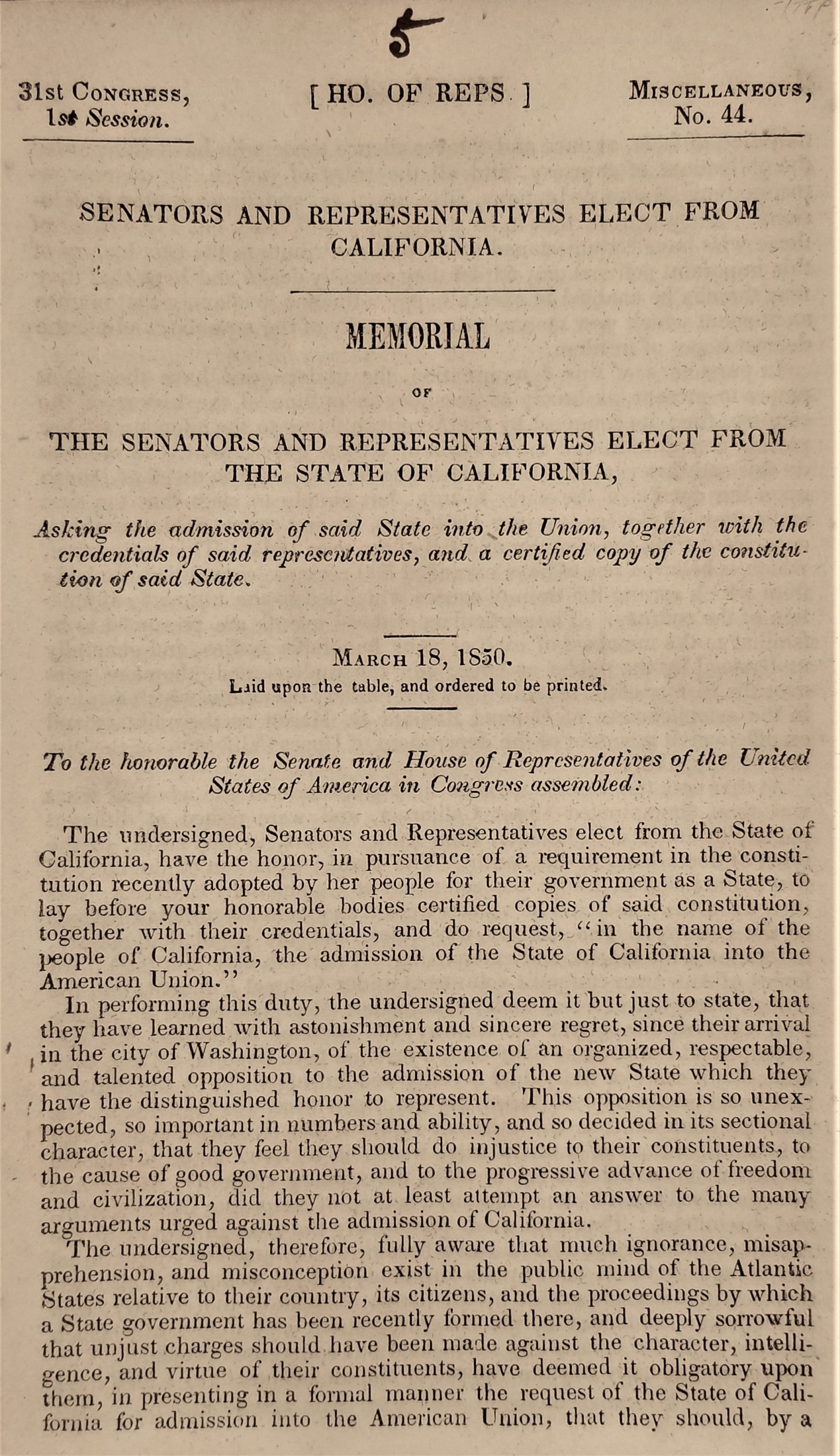 Asking for Admission: California's Representatives and Their