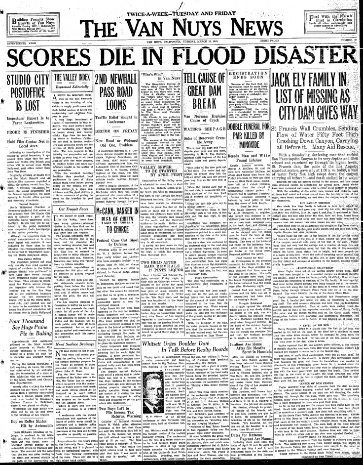 St. Francis disaster The_Van_Nuys_News_Tue__Mar_13__1928_