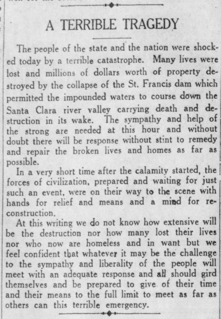 St. Francis editorial Santa_Ana_Register_Tue__Mar_13__1928_