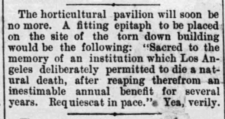 Horticultural Pavilion doomed LA_Times Feb_25__1882_