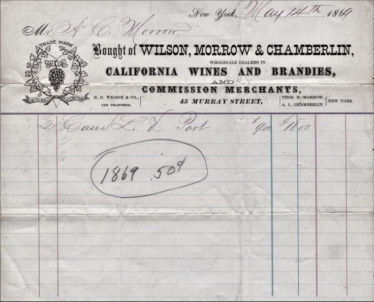 Wilson Morrow Chamberlain receipt 14May69