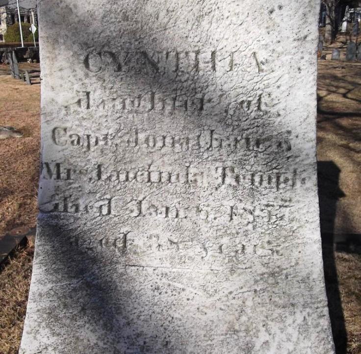 Temple tombstone Cynthia inscription