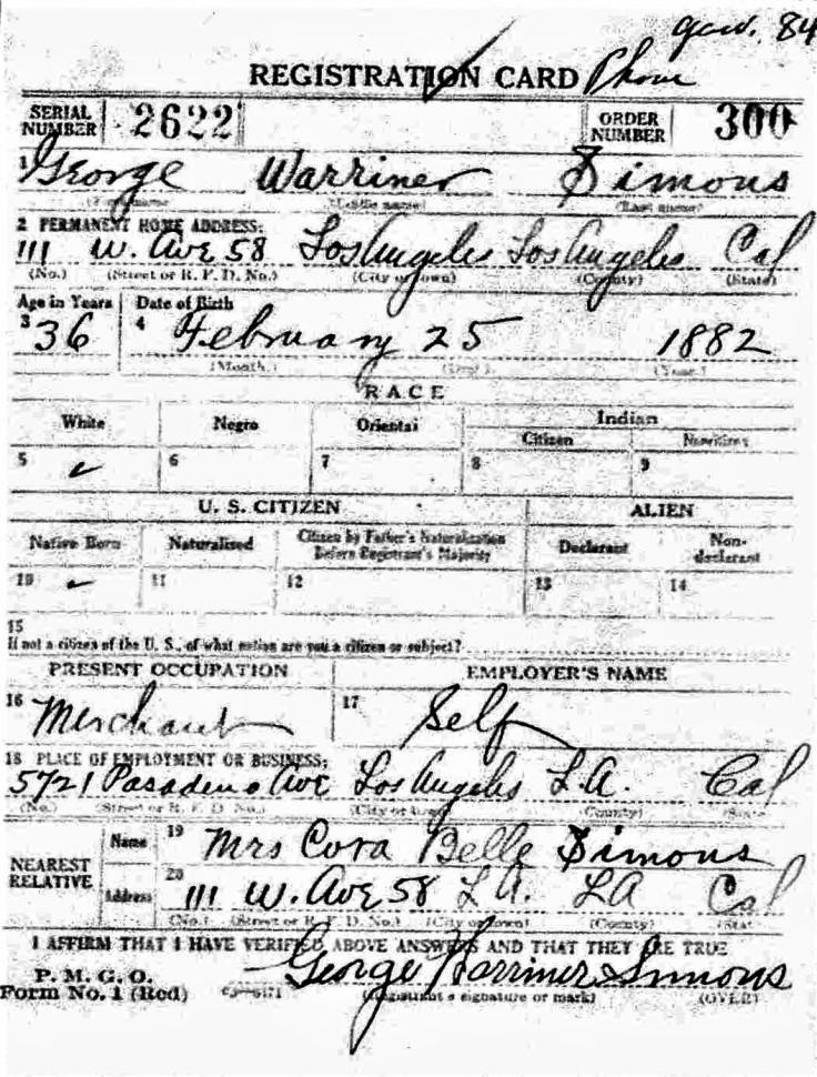 George Simons WWI Reg 12Sep18