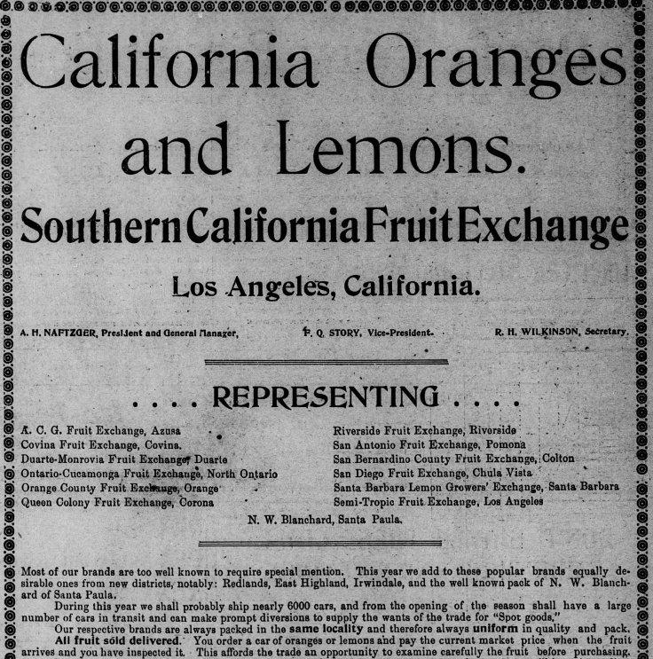 SC Fruit Exchange ad LA_Times_Jan_1__1900_