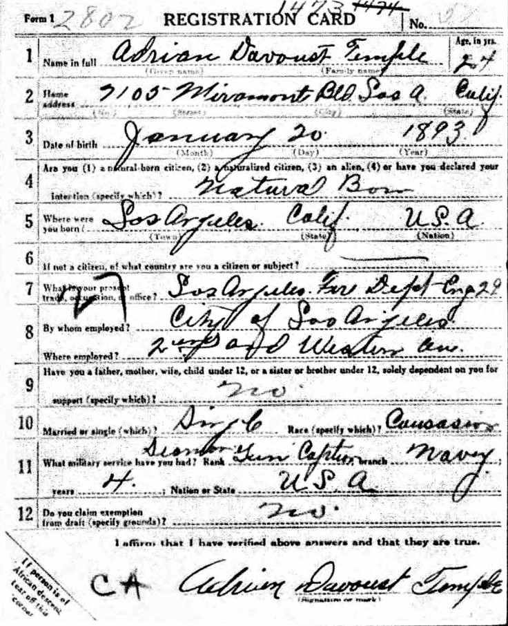 Adrian D. Temple WWI registration