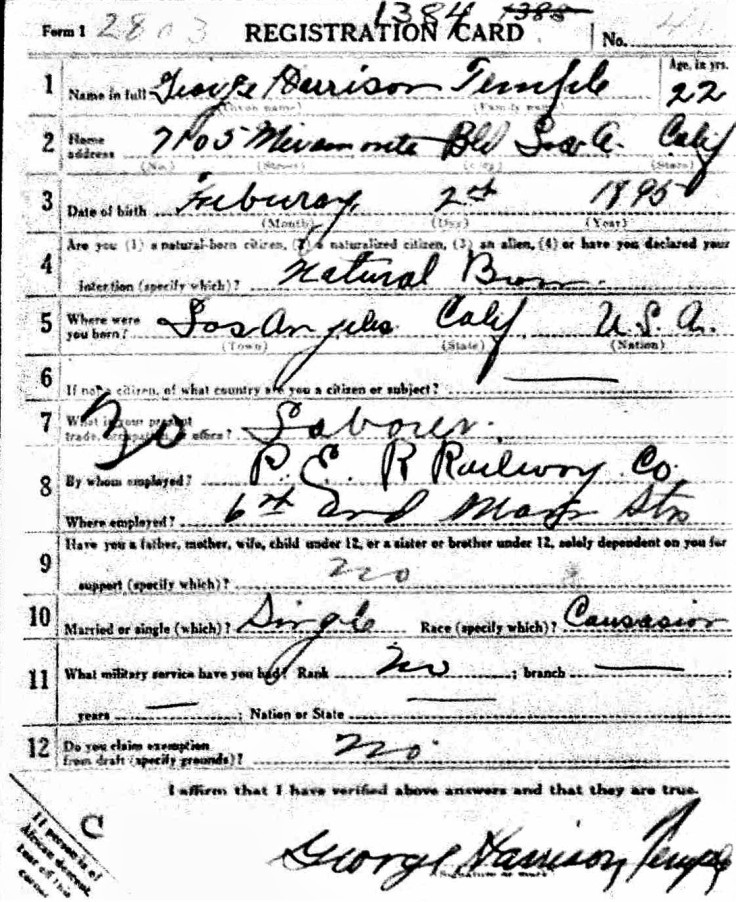 George H. Temple WWI registration