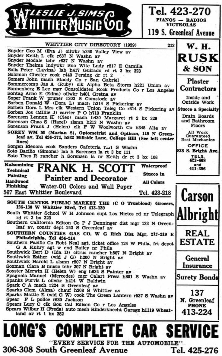 1929 whittier directory