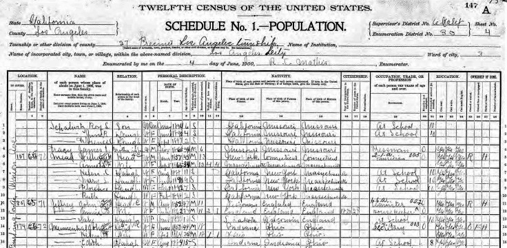 florence mead 1900 census