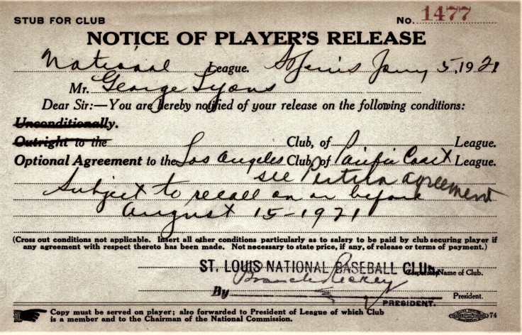 george lyons release cardinals 5 jan 1921