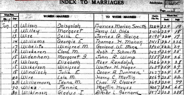 Marriage record 30Jun19