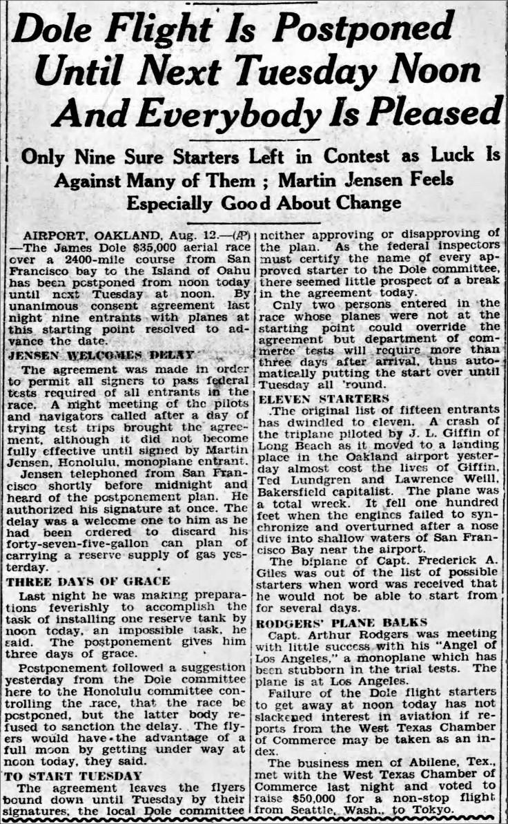 Plane trouble Dole Postponed Reno_Gazette_Journal_Fri__Aug_12__1927_.jpg