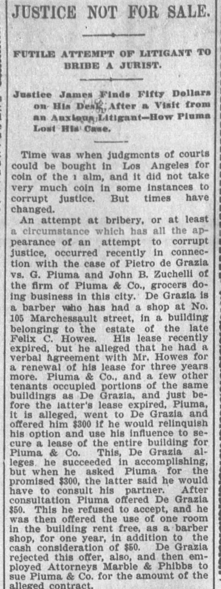 Piuma bribery The_Los_Angeles_Times_Wed__Oct_25__1899_