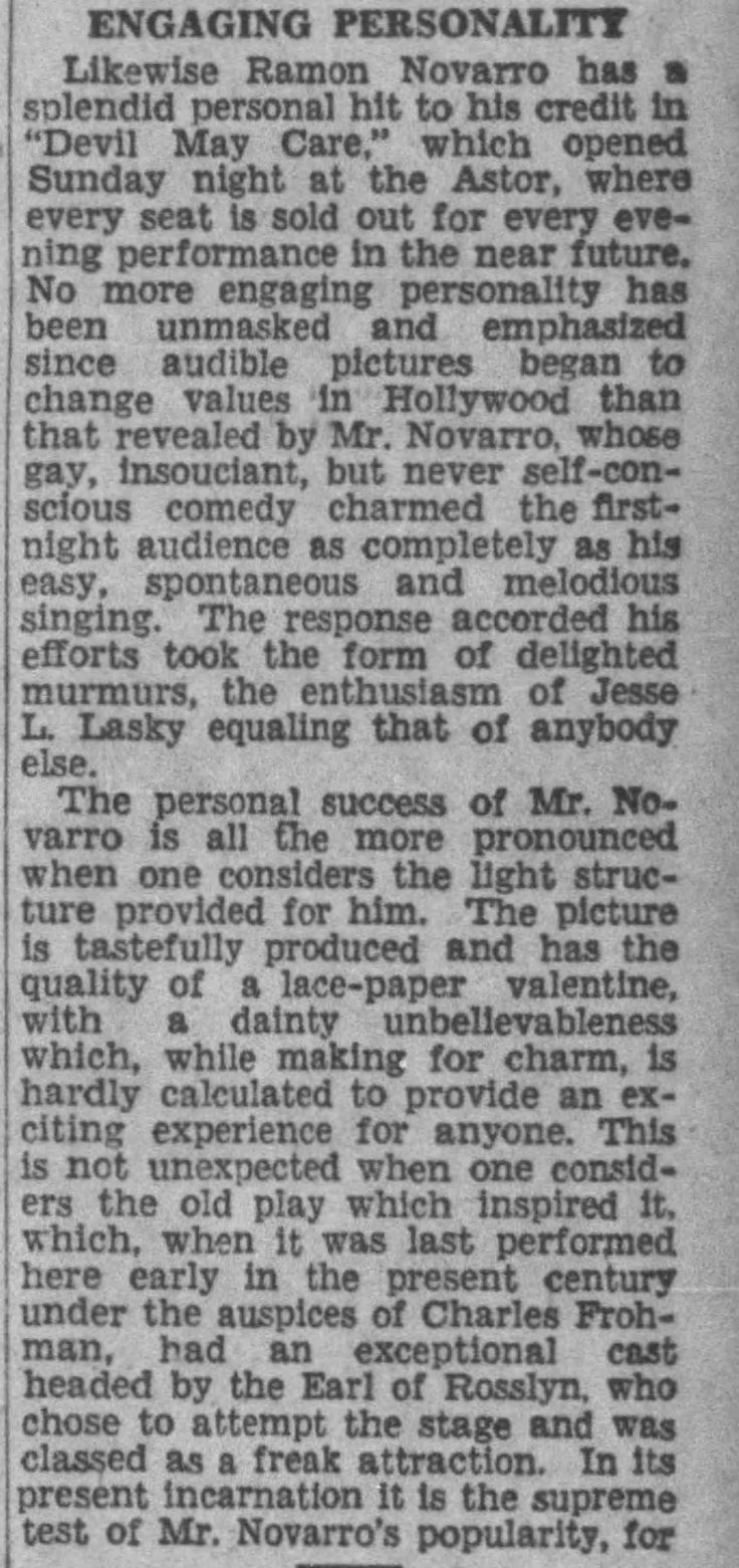 Devil May Care NY review The_Los_Angeles_Times_Sun__Dec_29__1929_