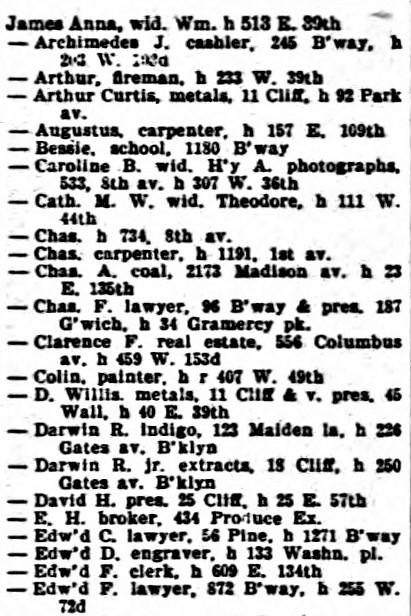 D Willis James NY city directory 1899
