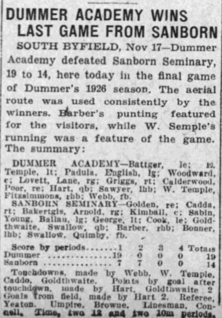 Dummer wins The_Boston_Globe_Thu__Nov_18__1926_