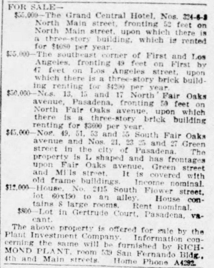 Grand Central sale ad The_Los_Angeles_Times_Sun__Nov_17__1912_