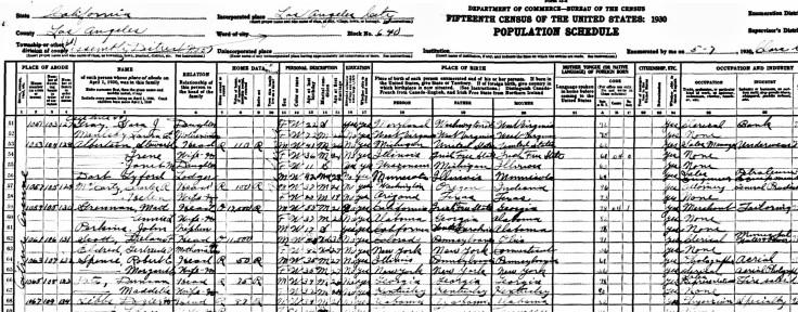 Robert E Spence 1930 census
